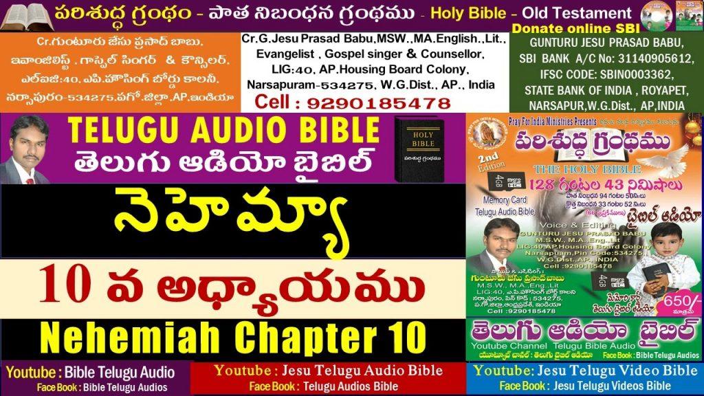 నెహెమ్యా  10వ అధ్యాయం, Nehemiah Chapter 10, Holy Bible,Old Testament,Jesu Telugu Audio Bible