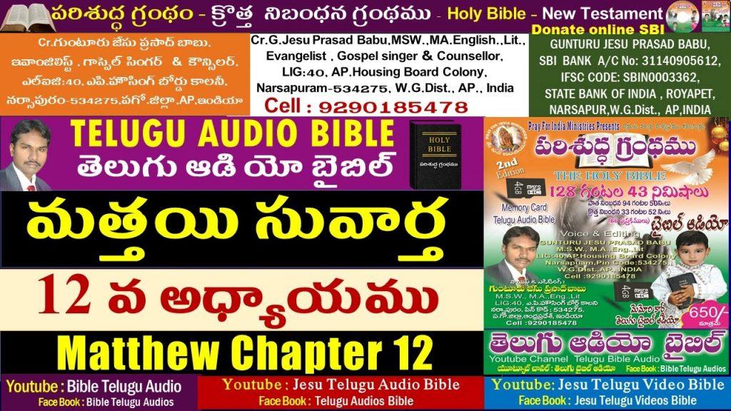 మత్తయి సువార్త 12వ అధ్యాయం,Matthew 12,Bible,New Testament,Telugu Audio Bible,Jesu Telugu Audio Bible