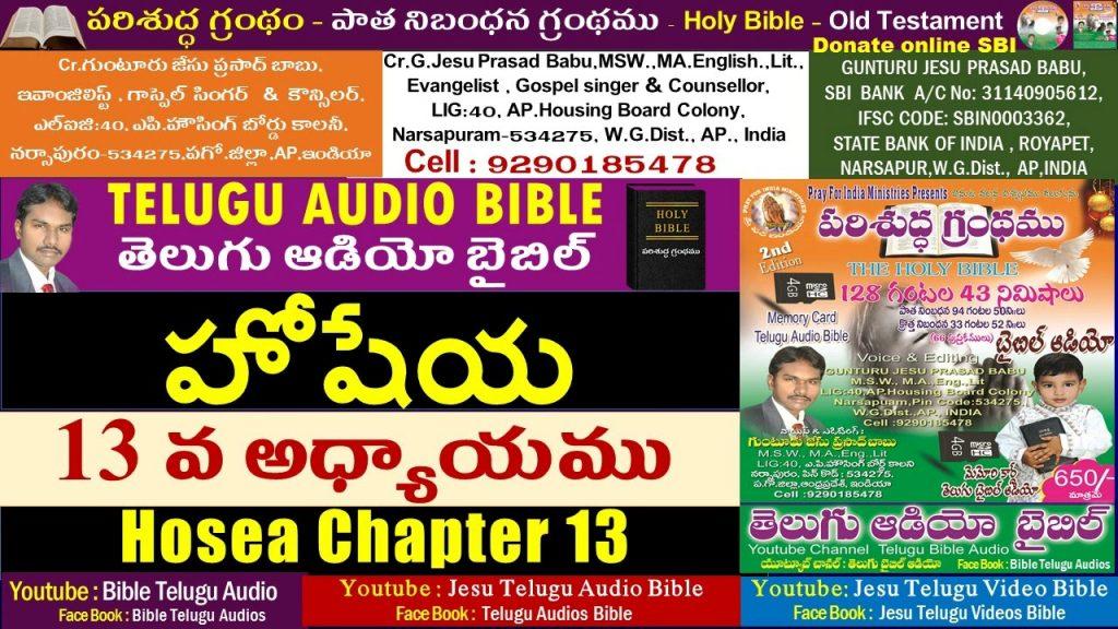 హోషేయ 13వ అధ్యాయం,Hosea 13, Hoshaya,Bible,Old Testament,Jesu Telugu Audio Bible,Telugu Audio Bible