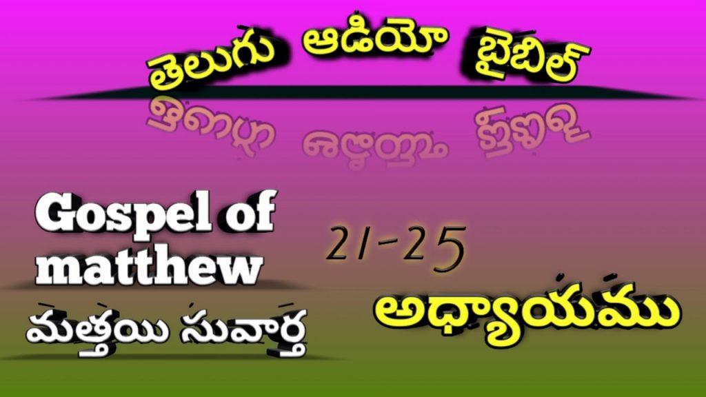 Telugu audio bible మత్తయి సువార్త 21-25 ఆధ్యాయములు